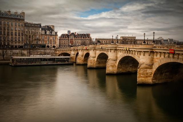 Paris, Seine, Pont-neuf, Perspective, Boat, City