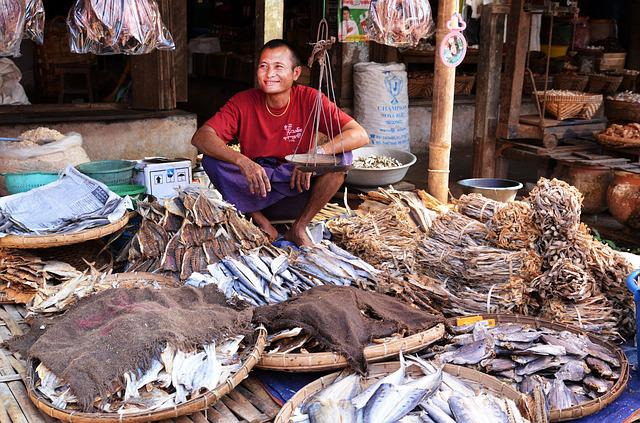 Marketplace, Seller, Fish Seller, Dried Fish, Fish