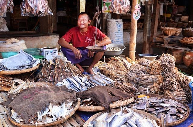 Marketplace, Seller, Fish Seller, Dried Fish, Fish