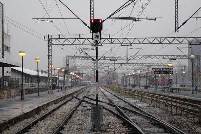 Semaphore, Railway, Snowy, Railroad Track