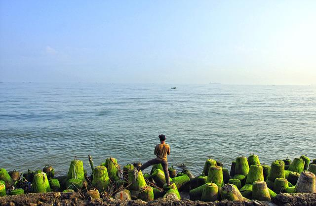 Me Fishing, Java Sea, Man, Indonesian, Semarang