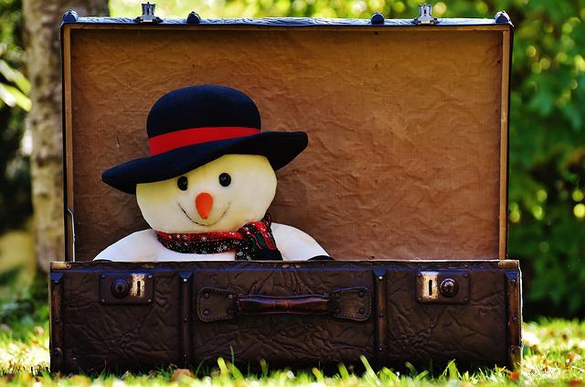 Winter Ade, Snow Man, Send Away, Luggage, Antique