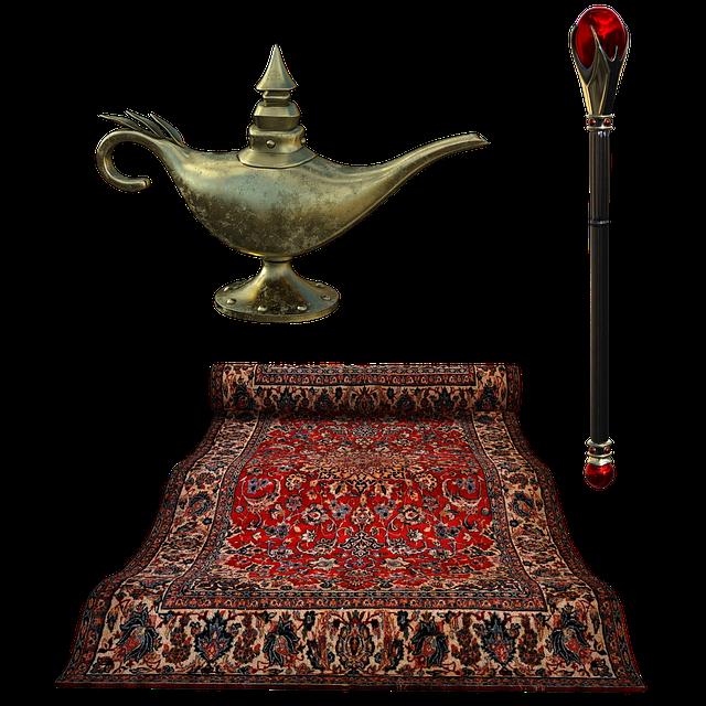 Flying Carpet, Lamp, Septure, Carpet, Rug, Golden, Sky