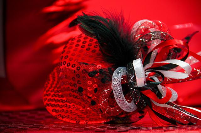 Hat, Carnival, Ball Season, Shiny, Sequins, Red, Panel