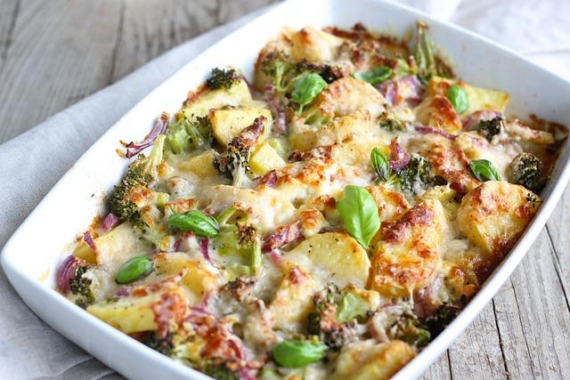 Broccoli, Potato, Casserole, Cheese, Baked, Bake, Serve
