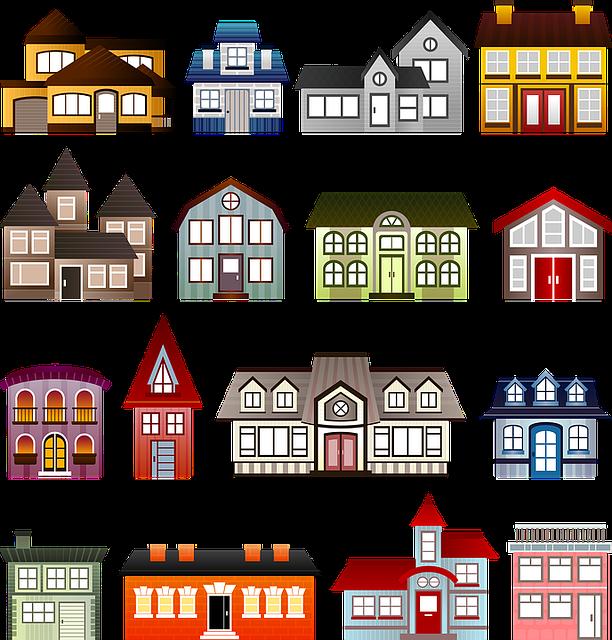 Houses, Set, Architecture, Clip Art, Building