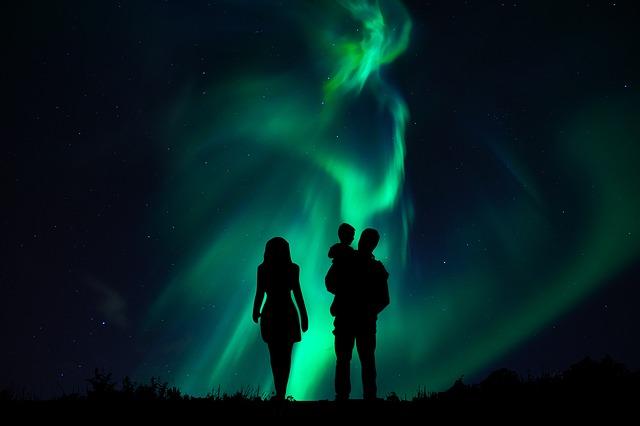 Aurora Borealis, Couple, Family, Child, Night, Set