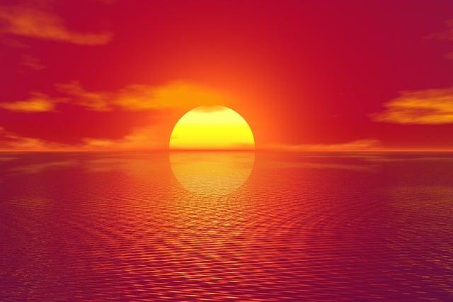 Sunset, Sky, Sea, Ocean, Setting, Sun, Golden Glow
