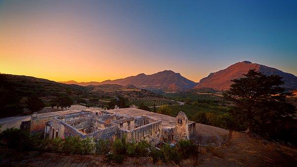 Panorama, Mountain, Travel, Crete, Settlement