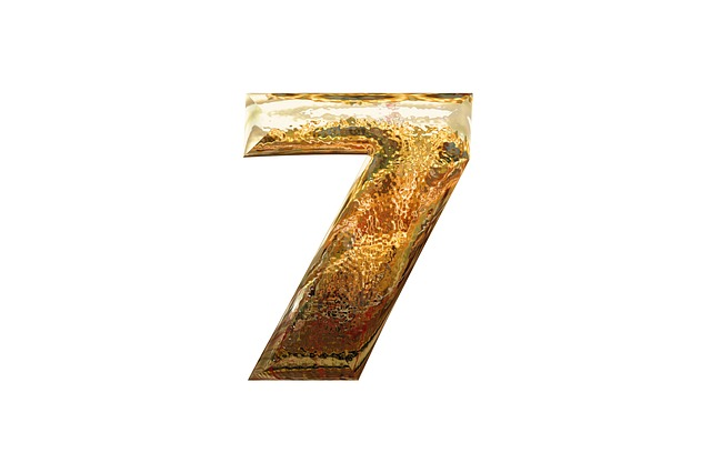 Number, Digit, Seven, 7, Golden, Glass, Volume