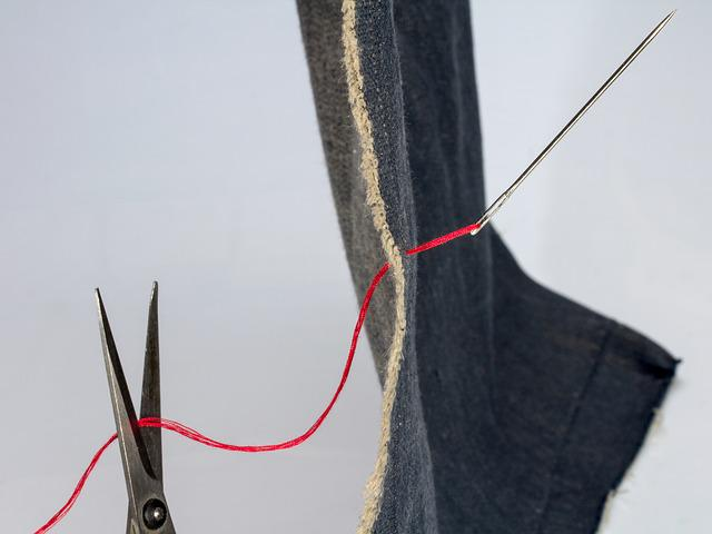 Fabric, Needle, Sew, Yarn, Denim, Indygo, Red Thread
