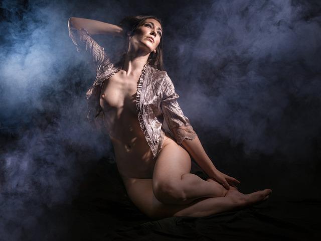 Smoke, Woman, Portrait, Dark, Nude, Beautiful, Sexy