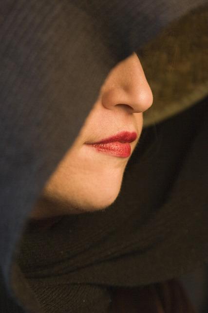 Woman, Sexy, Face, Lipstick, Cloak, Vixen, Hooded