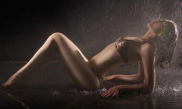 Girl, Wet, Sexy, Waterdrops, Rain, Female, Sportive
