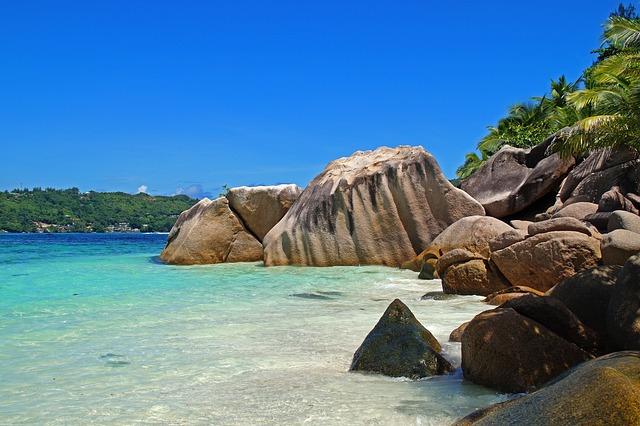 Sea, Shore, Beach, Side, Nature, Blue, Rock, Seychelles