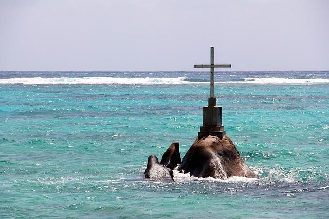 Ocean, Sea, Cross, Seychelles