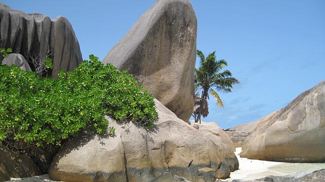 Seychelles, Beach, Granite Rock, Palm Trees