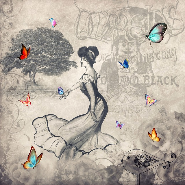 Vintage, Shabby Chic, Texture, Woman, Butterflies