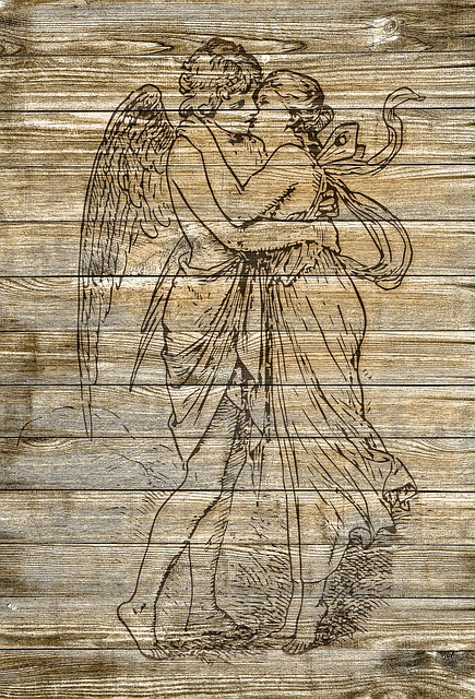 On Wood, Cupid, Pair, Kiss, Vintage, Shabby Chic