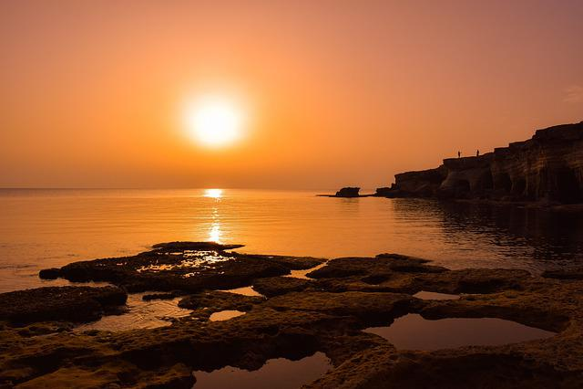 Sunset, Dusk, Sun, Sea, Water, Rock, Cliff, Shadows