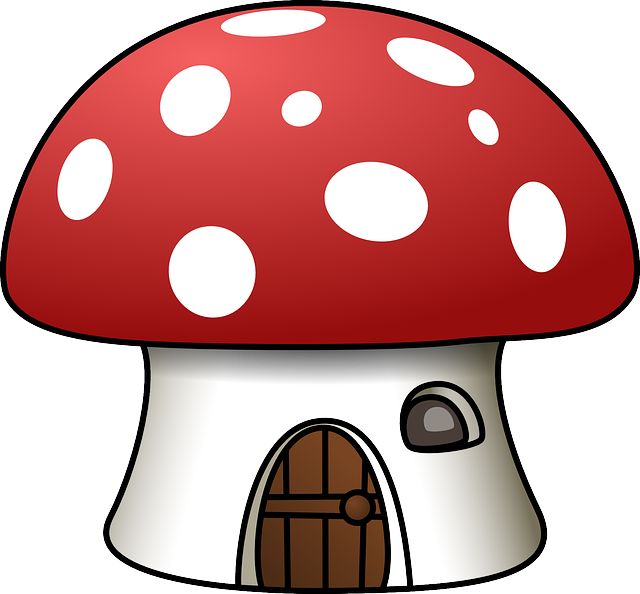 House, Mushroom, Red, White, Shape