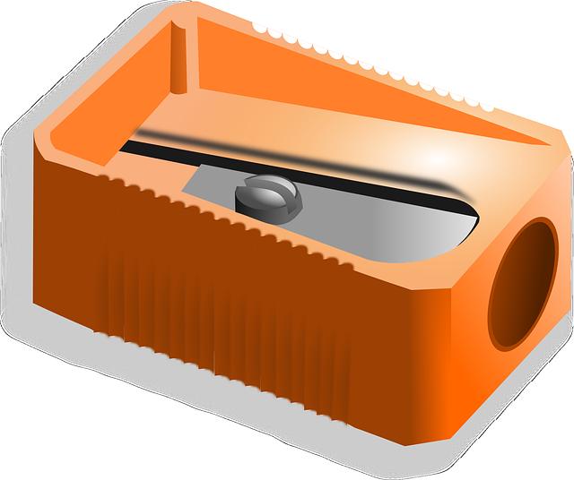 Pencil Sharpener, Sharpener, Office, School, Orange