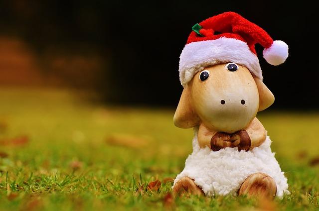 Christmas, Sheep, Deco, Santa Hat, Ceramic, Cute, Fig