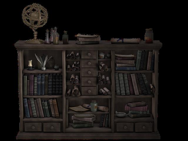 Shelf, Wooden Shelf, Bookshelf, Antique, Leather Covers