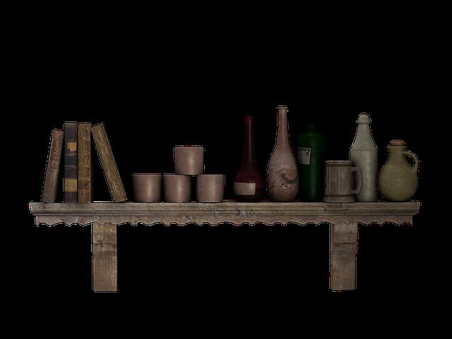 Shelf, Wall Shelf, Wooden Shelf, Bottles, Jugs, Books
