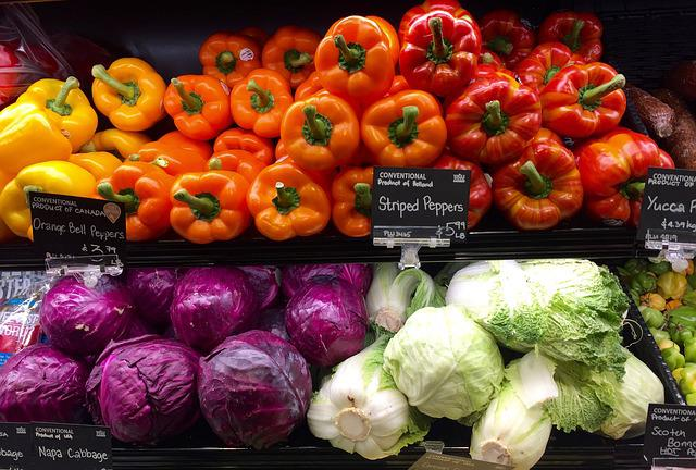 Produce, Grocery, Store, Shelf, Vegetables, Peppers