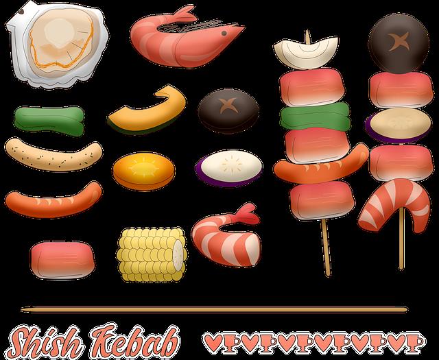 Shish Kebab, Vegetables, Shrimp, Corn, Shellfish, Food