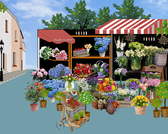 Market, Flowers, Shop, Awnings, Shelves, Bouquet
