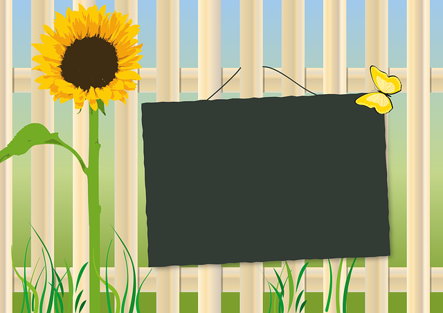 Garden Fence, Sunflower, Shield, Board, Background