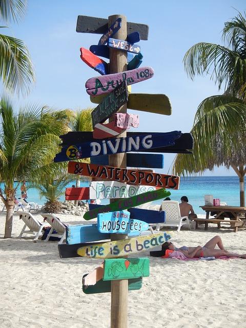 Shield, Directory, Curacao, Beach, Island