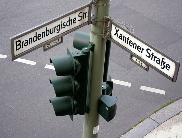 Street Name, Street Sign, Shield, Traffic Lights