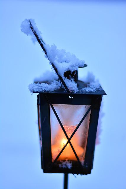 Lantern, Winter, Snow, Snowy, Shining, Snowfall, Mood