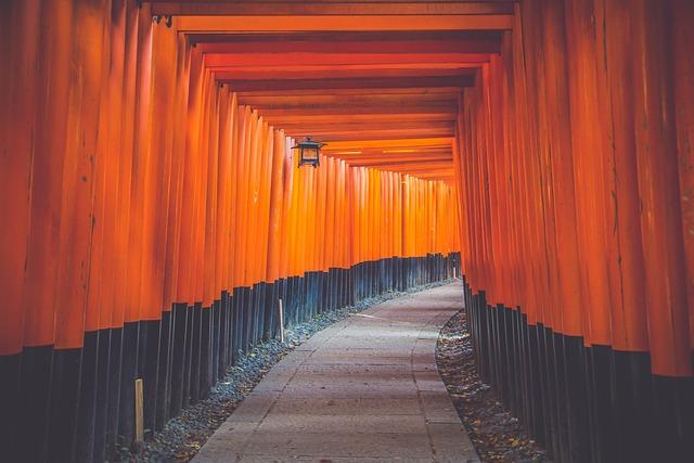 Shinto Shrine Gates, Torii Tunnel, Path