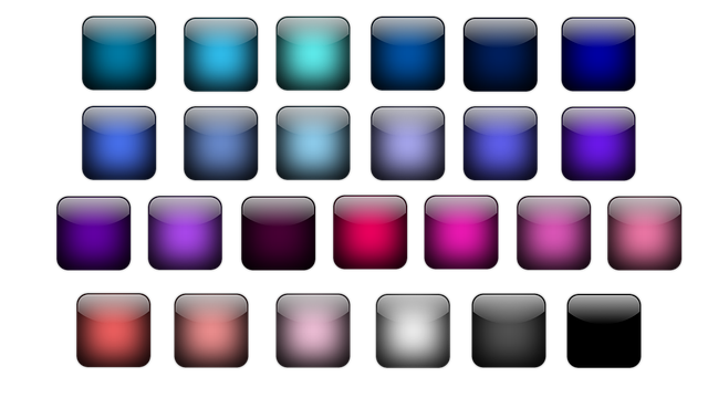 Button, Icon, Square, Colorful, Shiny