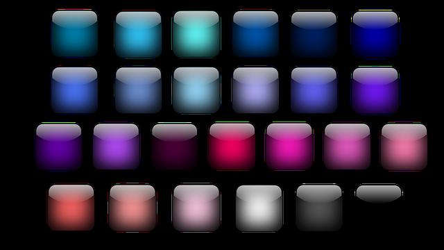Button, Icon, Square, Colorful, Shiny