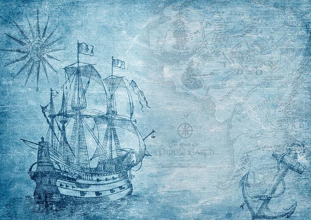 Ship, Map, Compass, Anchor, Sailing Vessel