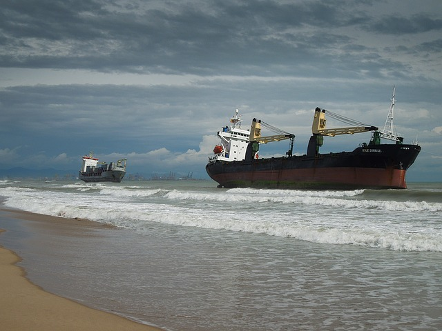 Stranded, Wreck, Ship, Beach, Sea, Forward, Water