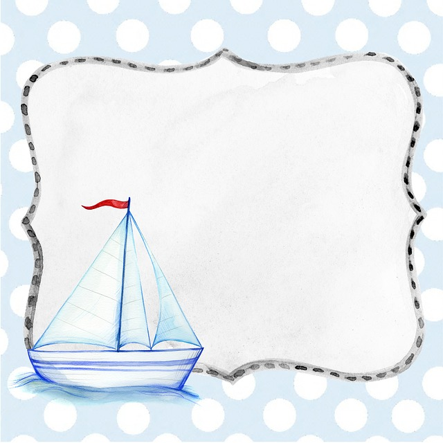 Ship, Background, Boat, Blue, Boy, Scrapbook, Page