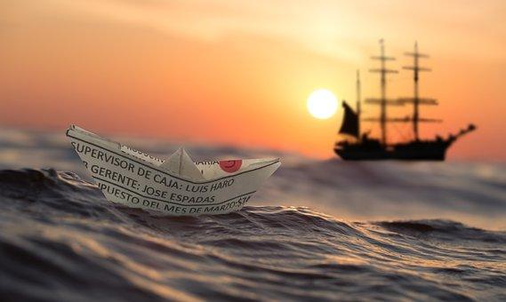 Dawn, Sunset, Waters, Sea, Ship, Sailing Boat, Dusk