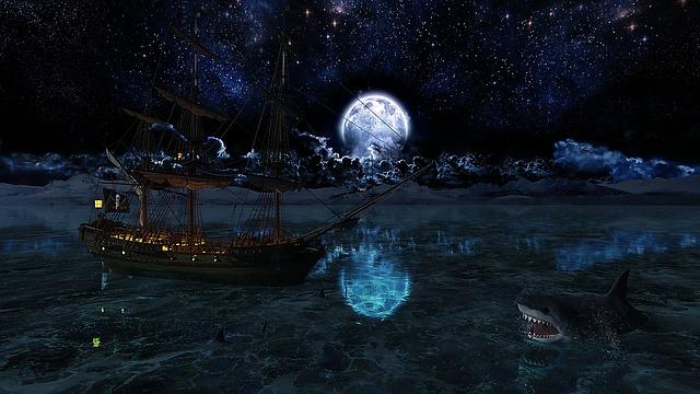 Pirates, Ship, Hai, Sea, Night, Space, Sailing Vessel