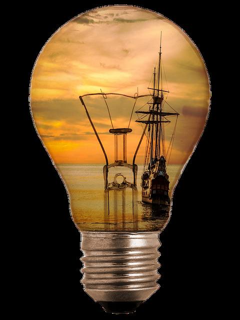 Light Bulb, Ship, Sea, Sunset, Abendstimmung, Sunlight