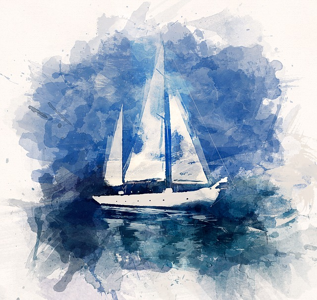 Illustration, Ship, Yacht, Ocean, Sea, Blue