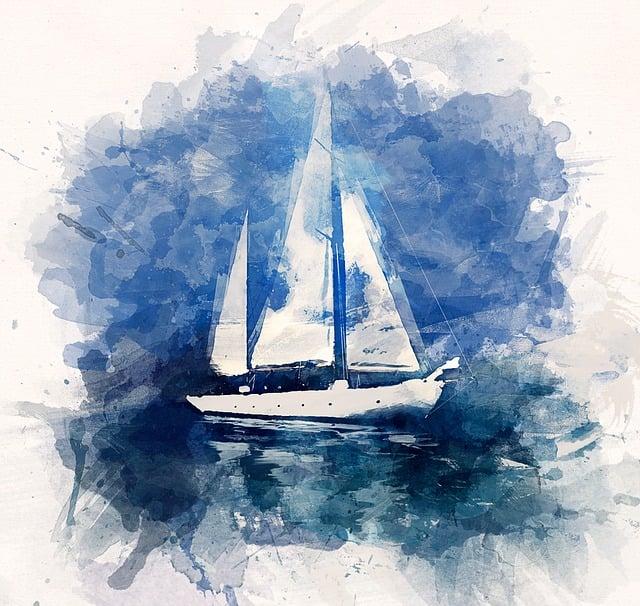 Illustration, Ship, Yacht, Ocean, Sea, Blue