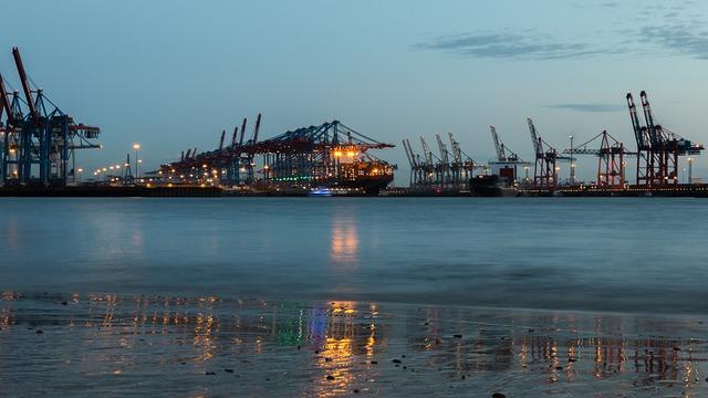 Hamburg, Elbe, Evening, Port, Ship, Water, Port City