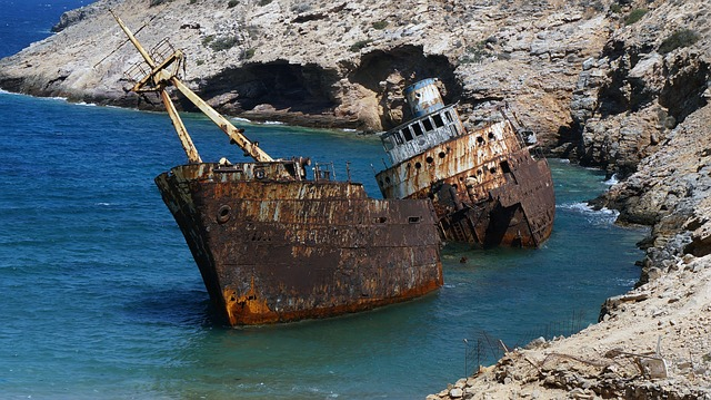 Ship Wreck, Amorgos, Greek Island, Sea, Holiday, Greece