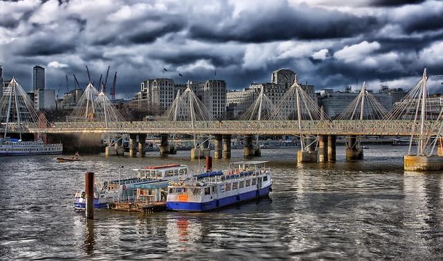 London, England, Hdr, Boats, Ships, Bridge, Buildings